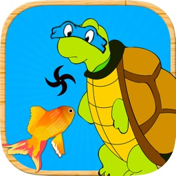 Turtle Fishing Catch a Big Fish in Deep Sea