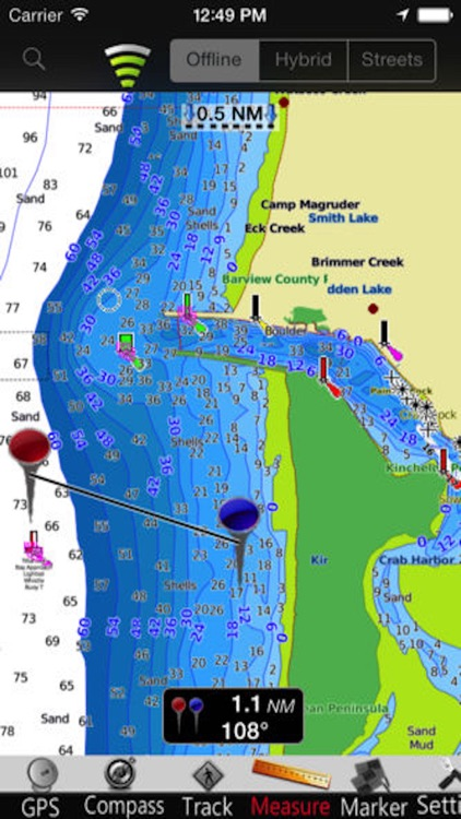 Washington nautical chart GPS: marine & lake gps waypoint, route and track for boating cruising fishing yachting sailing diving screenshot-3