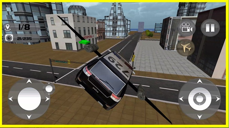 Floating Police Car Flying Cars – Futuristic Flying Cop Airborne flight Simulator FREE game screenshot-4
