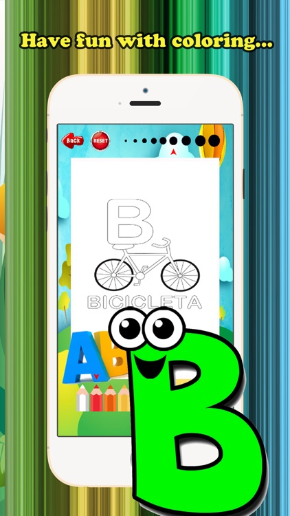 ABC Coloring Book for children age 1-10 (Spanish Alphabet Upper): Drawing & Coloring page games free for learning skill screenshot-3