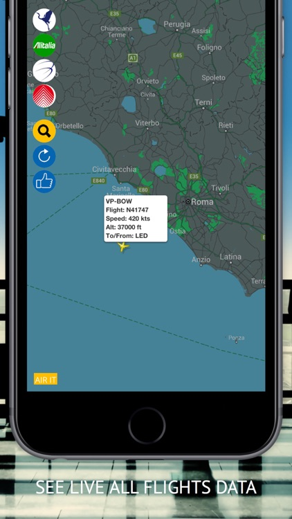 Air IT PRO : Live flight Status & Radar for Alitalia, Air One, Blue Panorama and Meridiana Fly Airlines