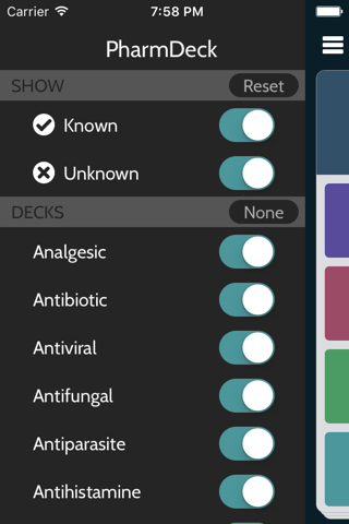 Screenshot of PharmDeck : Simple drug flash cards - class, mechanism, uses, side effects