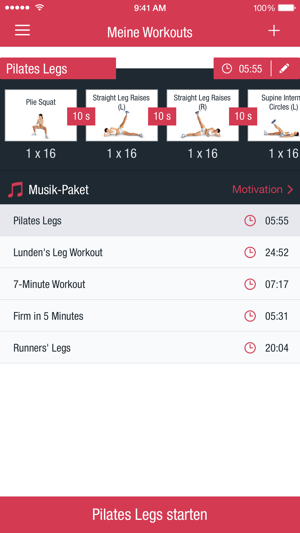 Runtastic Leg Trainer App Screenshot