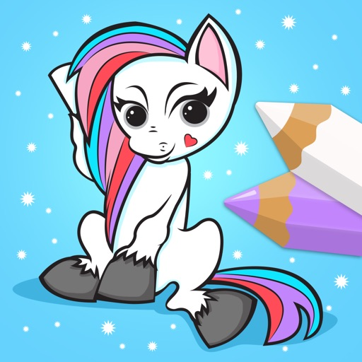 Pony and Unicorn - Coloring Book for Little Boys, Little Girls and Kids - Free Game