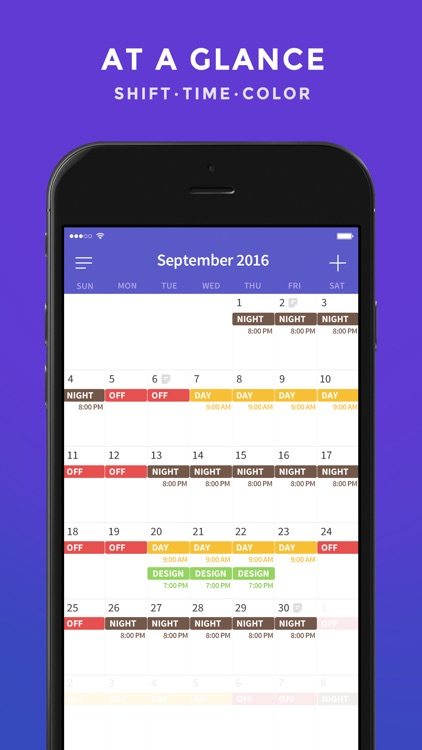 Shift Work Days - Calendar Planning for Shift Worker