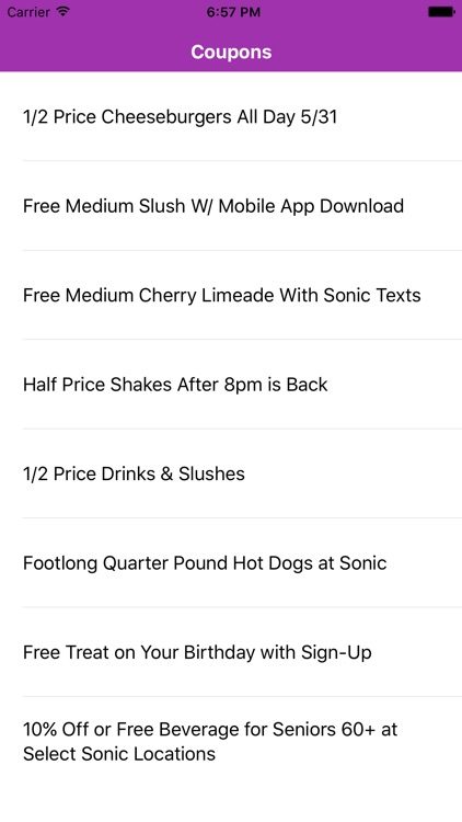 Coupons for Sonic App