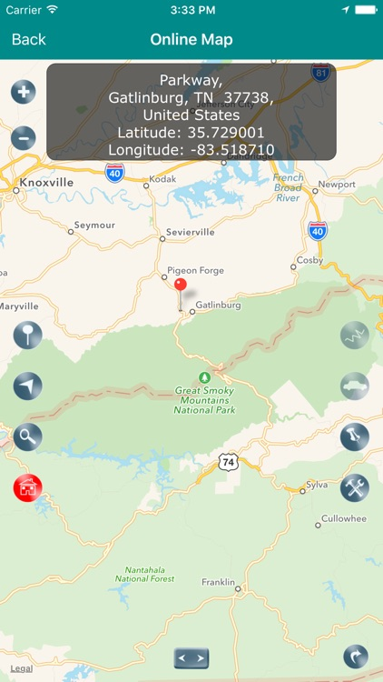 Great Smoky Mountains National Park Map, NC,TN