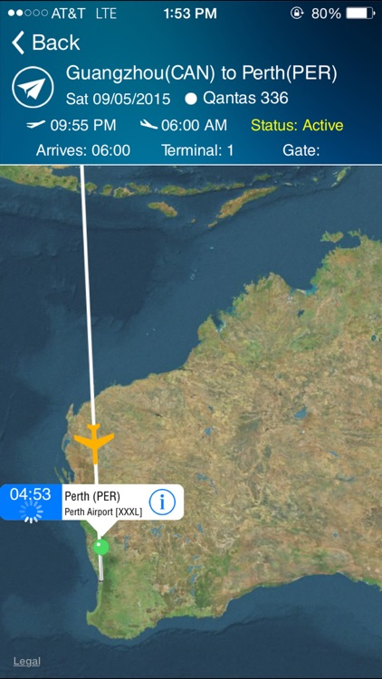 Perth Airport (PER) Flight Tracker Radar