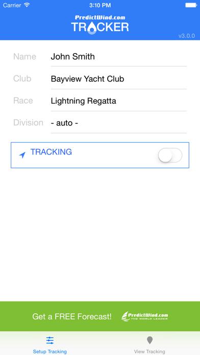 PredictWind Tracker på PC