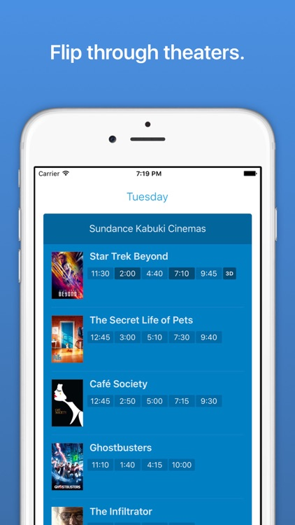 Showings – a new kind of movie times app