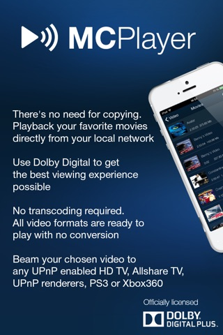 MCPlayer Pro wireless UPnP video player for iPhone, stream