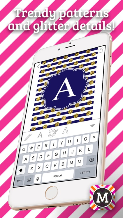 MonograMMing – Custom Wallpaper Maker with Monogram Sticker.s and Chevron Glitter Theme.s screenshot-4