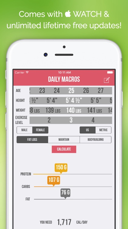 Daily Macros - Harris Benedict Formula Based Carb, Protein, Fat Macronutrient ratios and Calorie Calculator screenshot-4