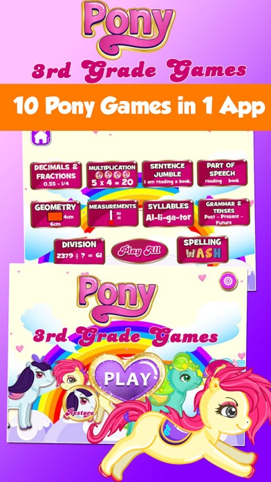 Pony 3rd Grade Kids Learning Games School Edition