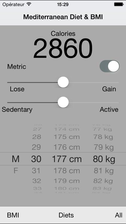 Mediterranean Diet Planner & Calorie BMI Calculator