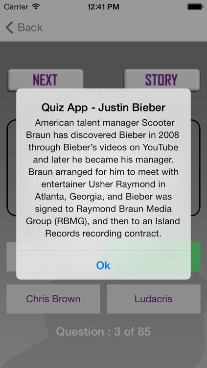 "Quiz App - ""Justin Bieber Edition"" screenshot-3"