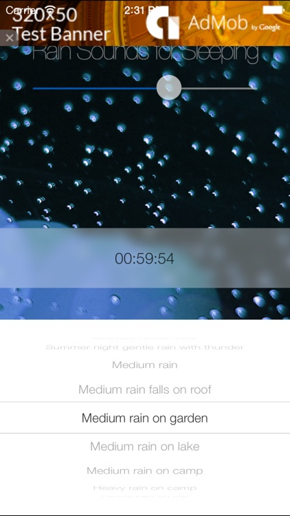 Rain Sounds for Sleeping Lite: HD Natural track and with 24-hour countdown timer