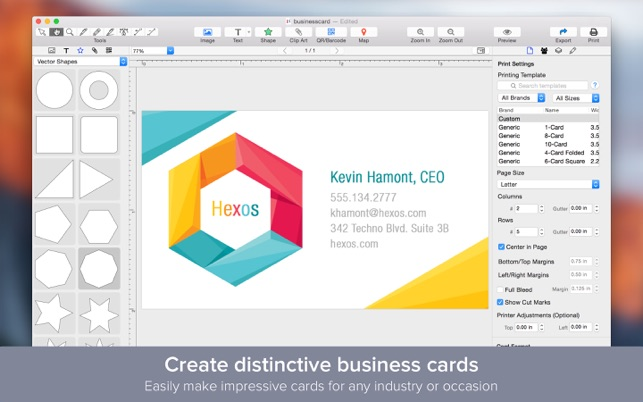 Business card designer create business cards on the mac app store screenshots reheart Image collections