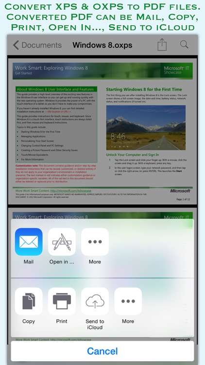 XPSView for iOS : Read XPS & OXPS documents and Export to PDF screenshot-1