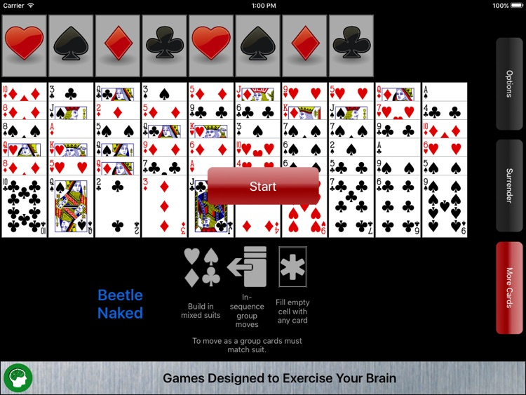 solitaire games Naked card