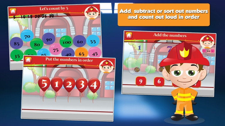 Fire Fighter Kid Goes to School: First Grade Learning Games screenshot-1