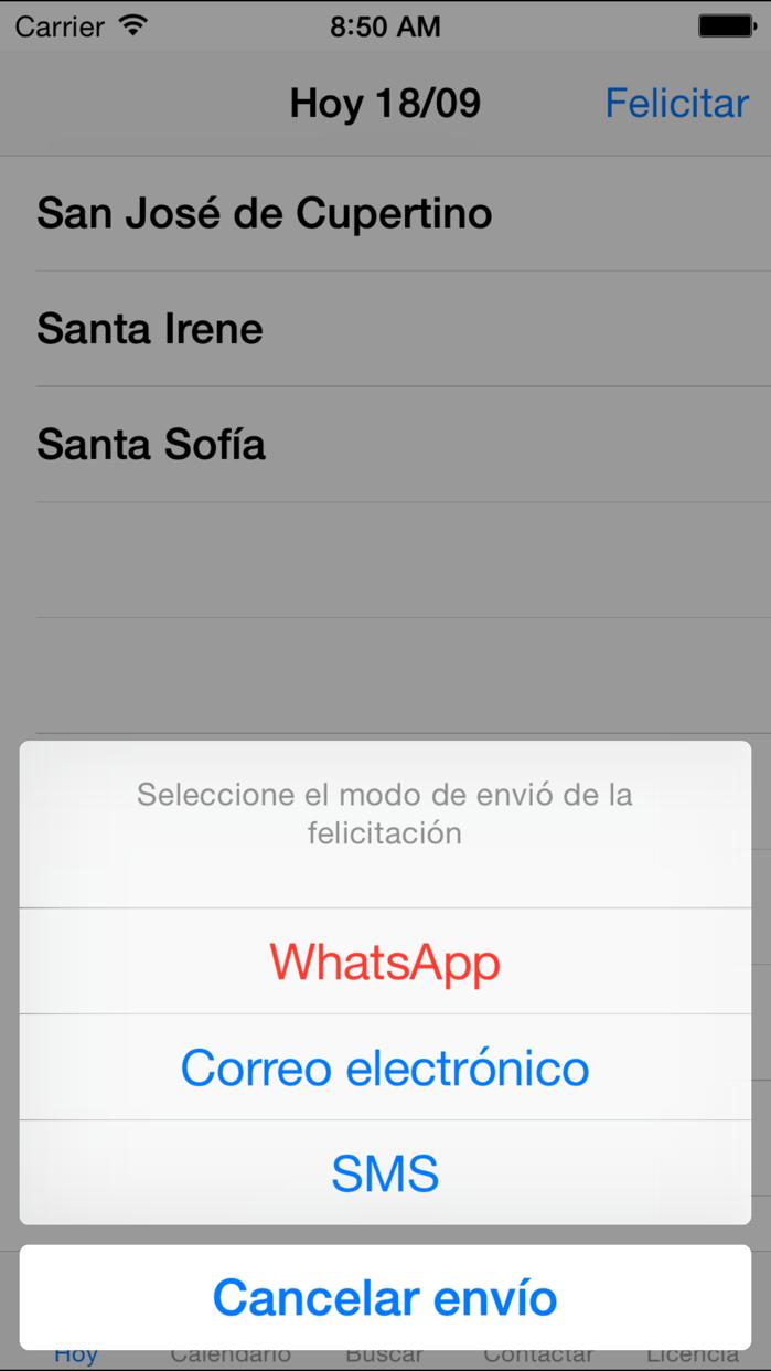 Santoral - Envíe felicitaciones a sus amigos o familiares Screenshot