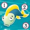 アクティブ! 釣りと淡水の魚についての子供のためのゲームを数えるのは数えることを学ぶ