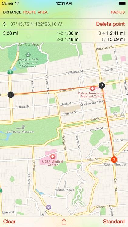 Map Tools - area, distance, radius and angle measurement screenshot-0