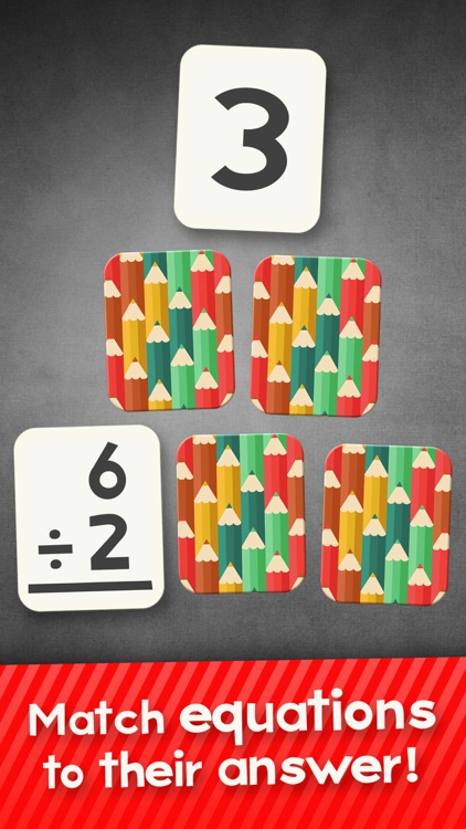 Division Flashcard Match Games for Kids in 2nd, 3rd and 4th Grade Learning Flash Cards Free screenshot-0