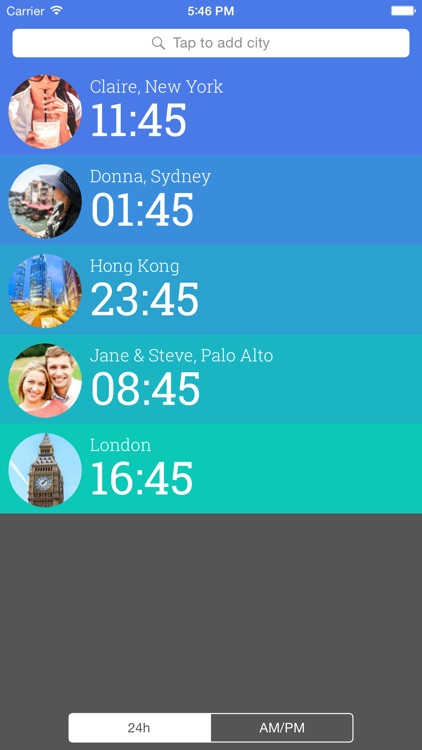 Friendly Clocks - Time Zones for Friends in Just 1 Swipe