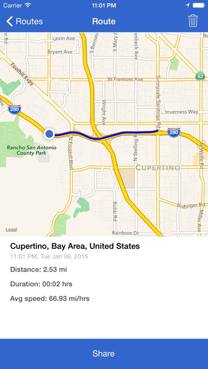 RouteKeeper - record traveled miles, routes, and location