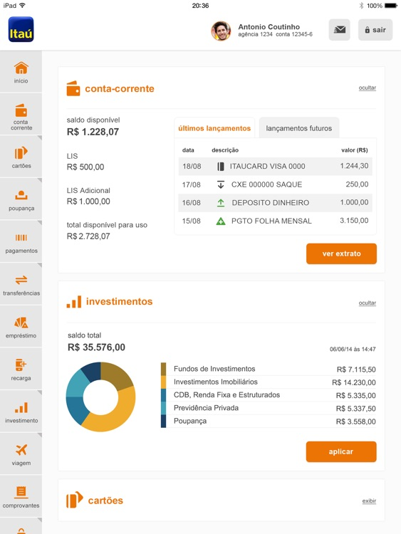 Itaú para iPad screenshot-2