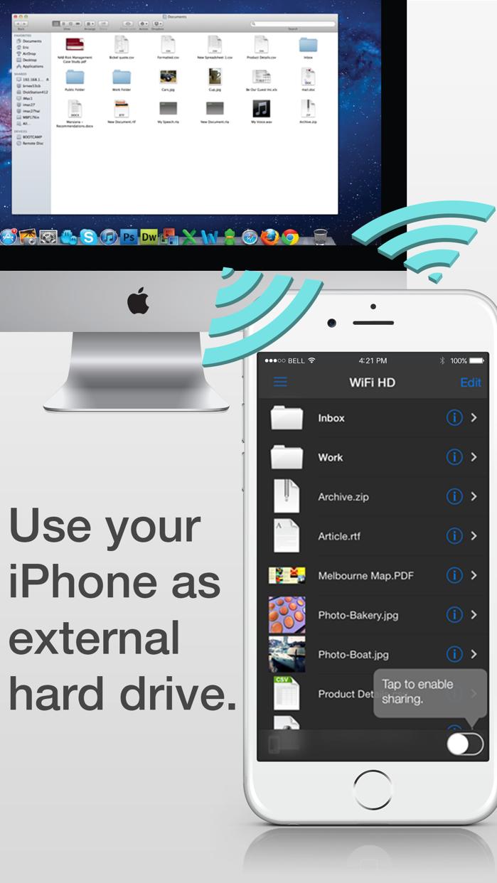 WiFi HD FREE (Wireless SMB USB Hard Disk Drive & NFS Network File Sharing Explorer) Screenshot