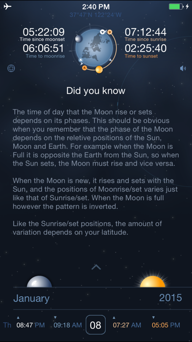 Raise and Set Times - Moonrise, moonset, sunrise, sunset times and compass screenshot two