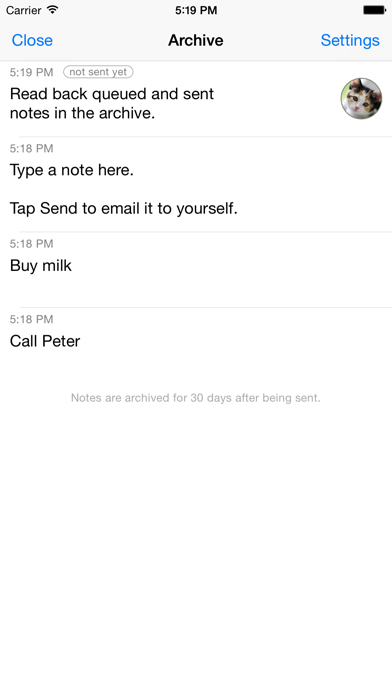 Captio - Email yourself with 1 tap screenshot three