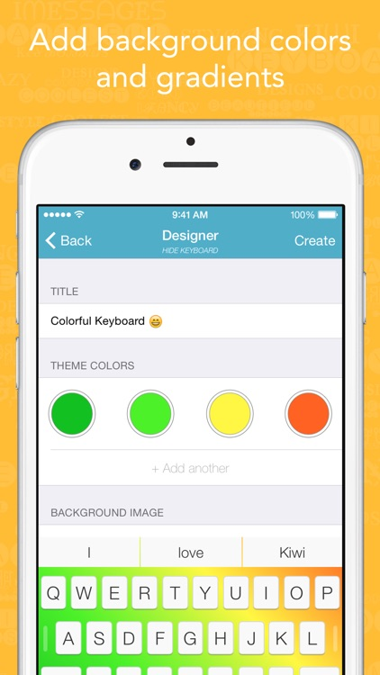 Kiwi - Colorful, Custom Keyboard Designer with Emoji for iOS 8