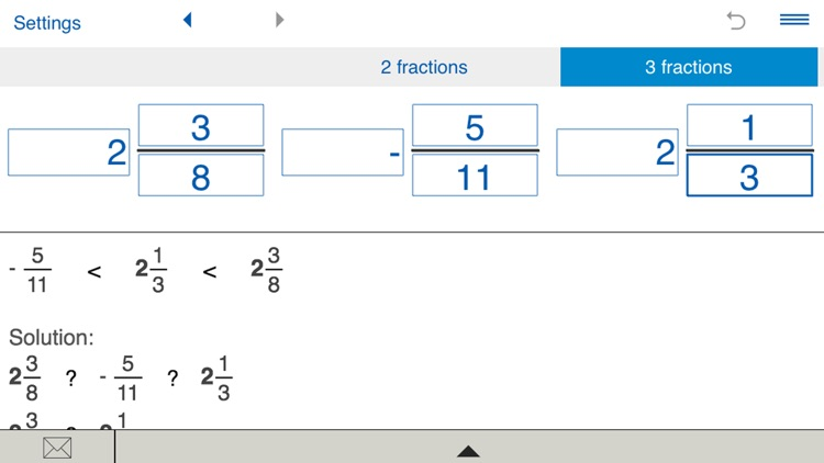 Compare fractions calculator screenshot-3