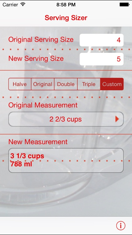 Serving Sizer recipe converter screenshot-0