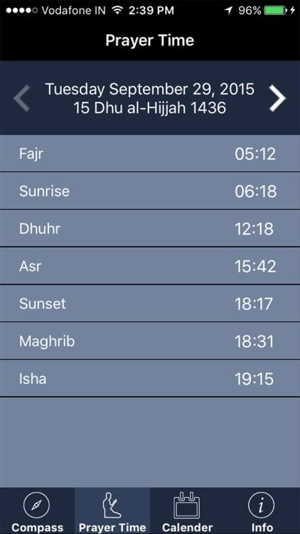 Qibla Compass : Prayer Times, Islamic Calendar, Azan