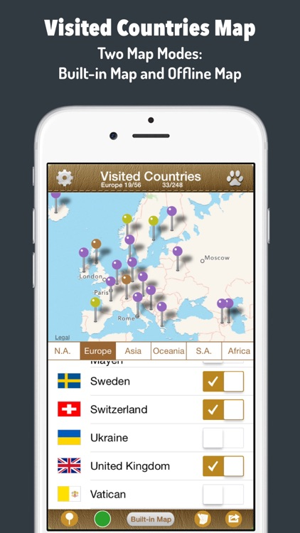 Visited Countries Map - World Travel Log for Marking Where You Have Been screenshot-1