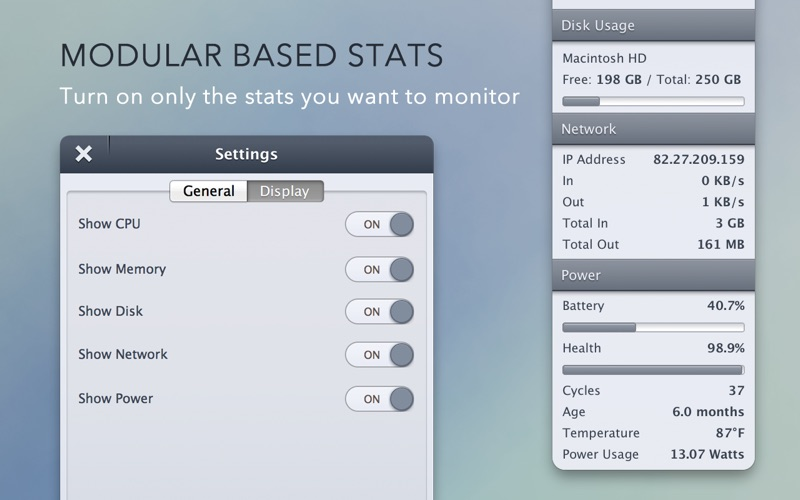 StatsBar: System Monitoring Screenshots