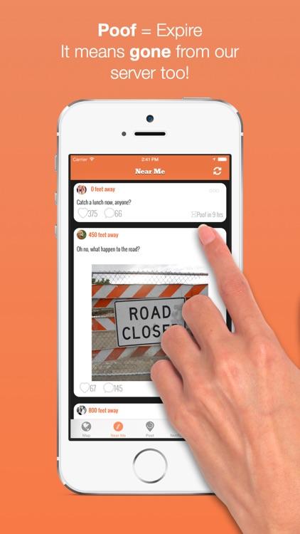 Poofr - Self Destructive Location Based Social Network screenshot-3
