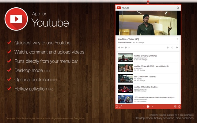 app for youtube instant at your desktop on the mac app store