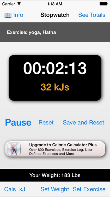 Exercise Calorie Stopwatch - Calculator/Timer for the Calories Burned With Exercise screenshot-3