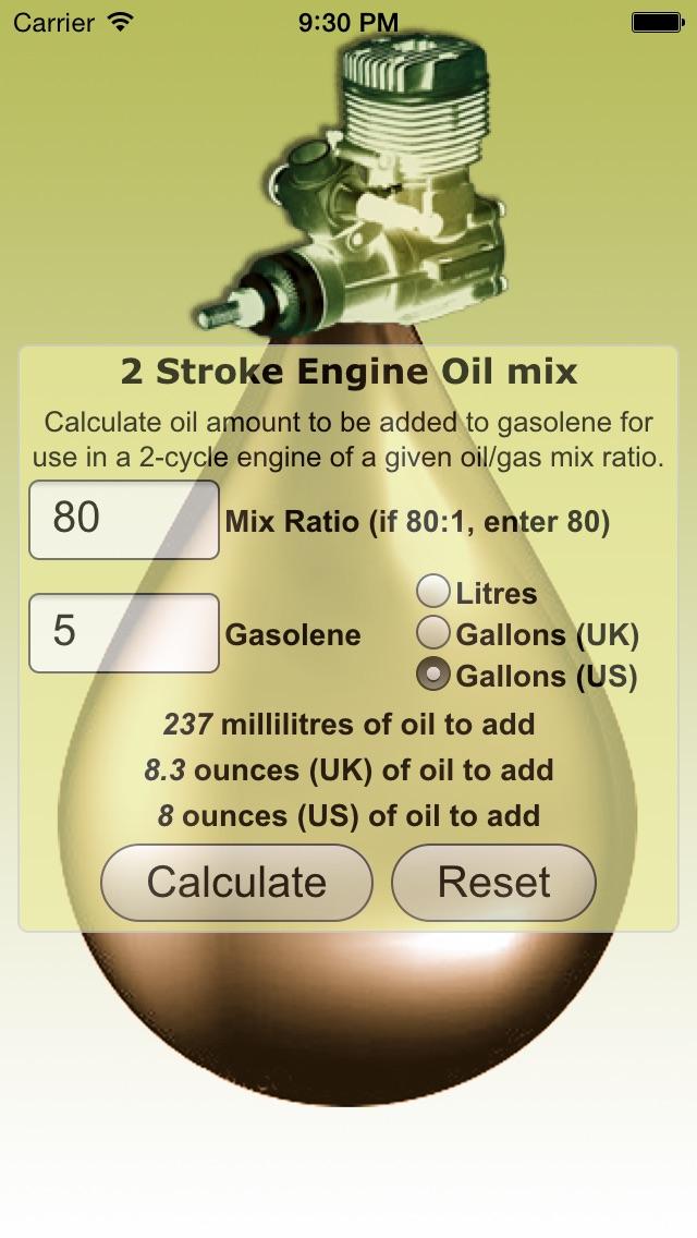 2 Stroke Oil Mix Calculator Screenshot