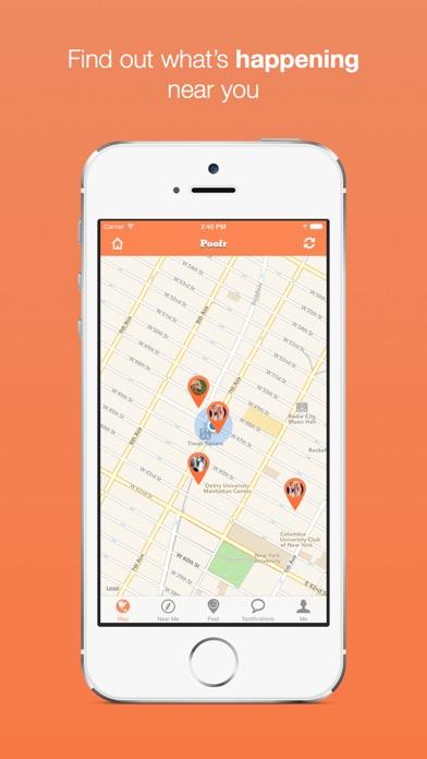 Poofr - Self Destructive Location Based Social Network screenshot one