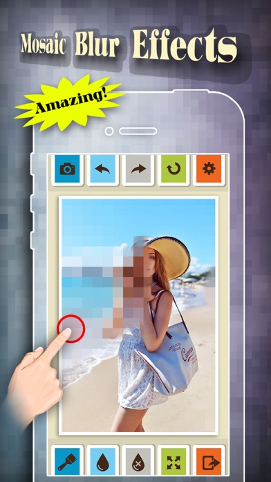 Mosaic Blur Effects Filter - Censor Pixelate Photo Editor: Touch to