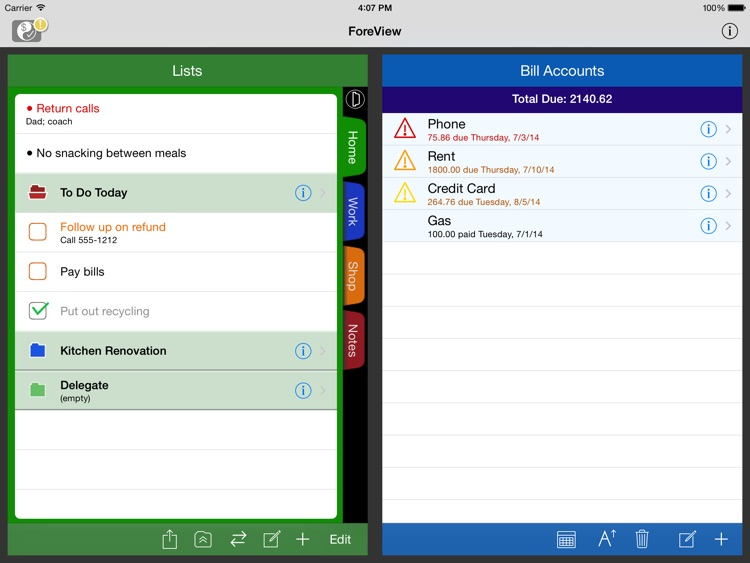 ForeView for iPad:To Do + Bills Tracker screenshot-0