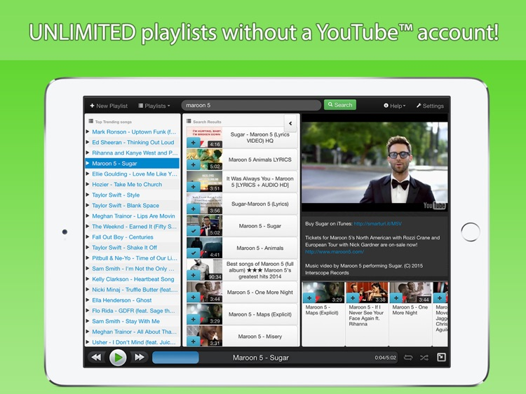 StereoTube Music Player for YouTube & VEVO! Stream playlists of free mp3 songs & videos! screenshot-3