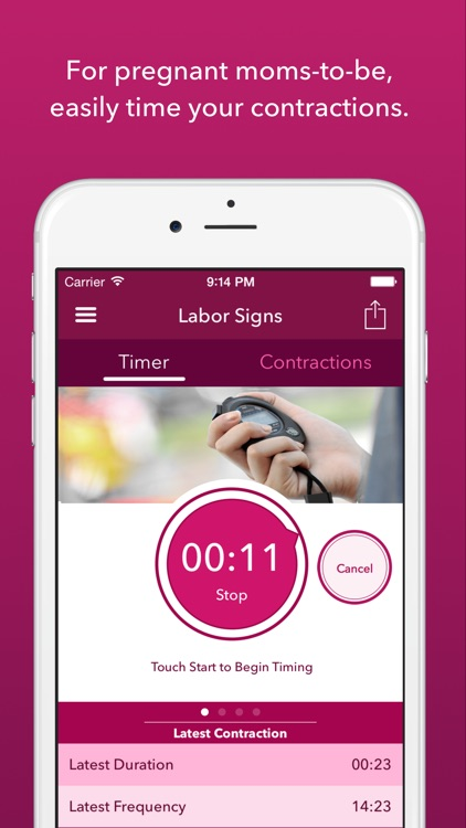 Labor Signs Contraction Timer screenshot-0
